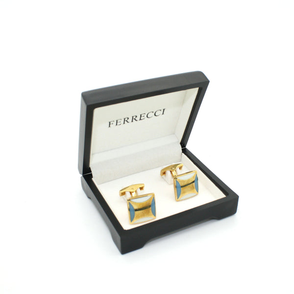 Goldtone Sky Blue Cuff Links With Jewelry Box - FHYINC best men's suits, tuxedos, formal men's wear wholesale