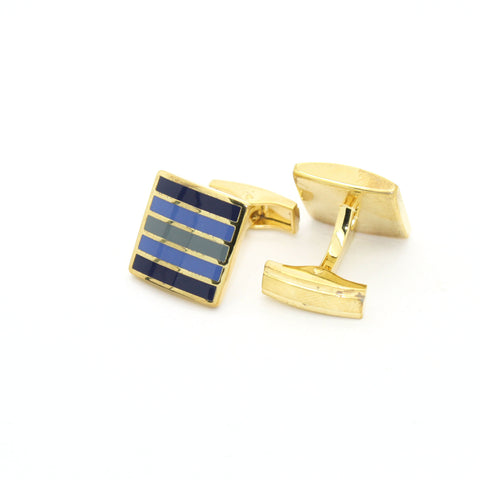 Goldtone Blue Stripe Cuff Links With Jewelry Box