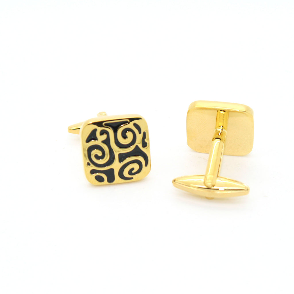 Goldtone Black#2 Design Cuff Links With Jewelry Box - FHYINC best men