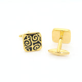 Goldtone Black#2 Design Cuff Links With Jewelry Box - FHYINC best men's suits, tuxedos, formal men's wear wholesale
