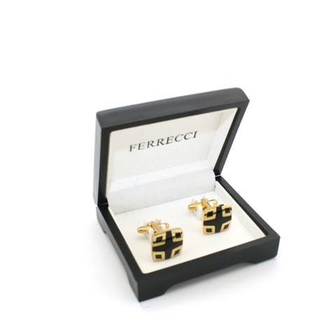 Goldtone Shield Black Cuff Links With Jewelry Box