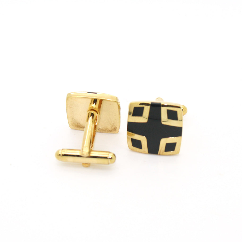 Goldtone Shield Black Cuff Links With Jewelry Box - FHYINC best men's suits, tuxedos, formal men's wear wholesale