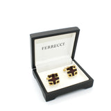 Goldtone Burdungy DesignCuff Links With Jewelry Box - FHYINC best men's suits, tuxedos, formal men's wear wholesale