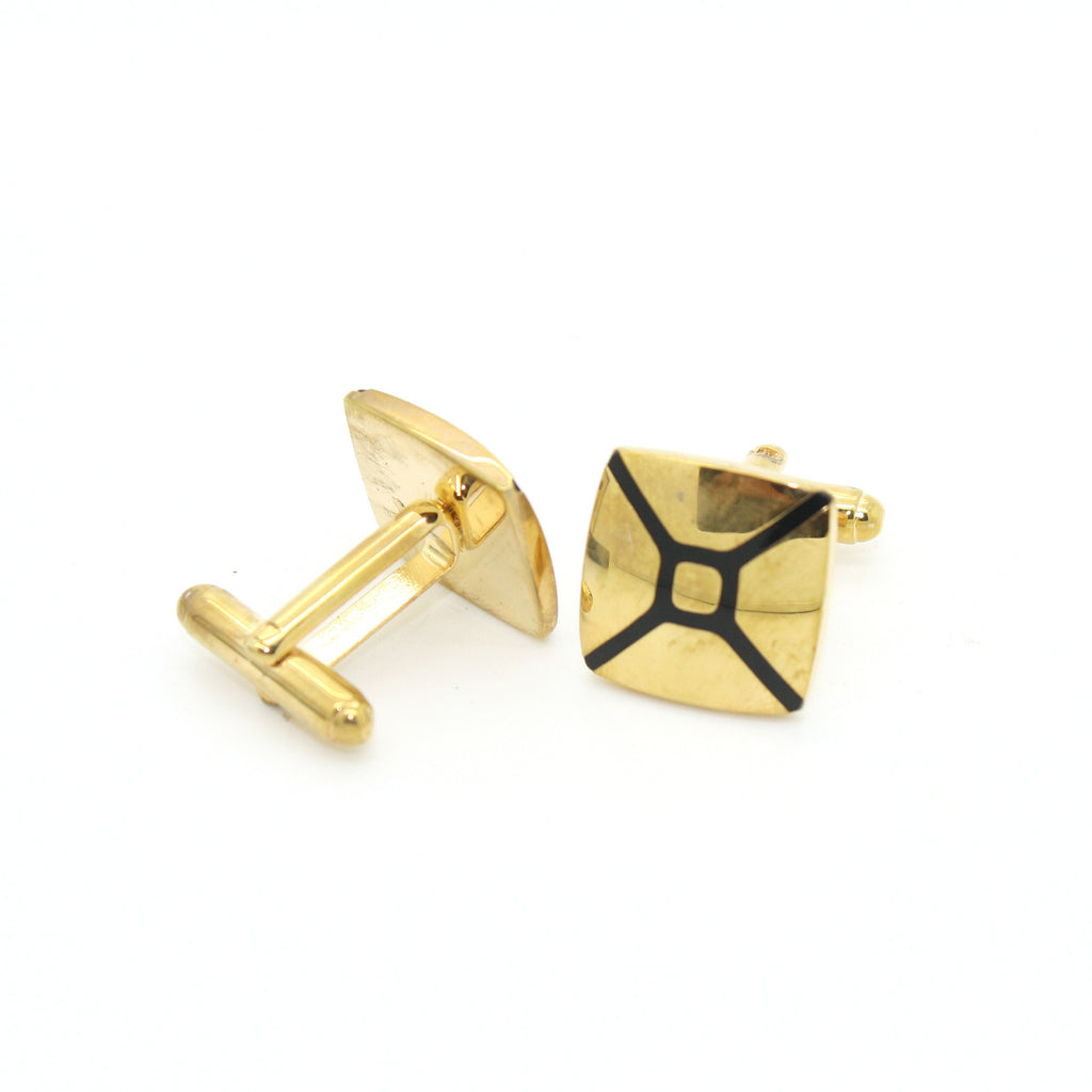 Goldtone Enamel Cuff Links With Jewelry Box - FHYINC best men
