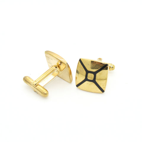 Goldtone Enamel Cuff Links With Jewelry Box