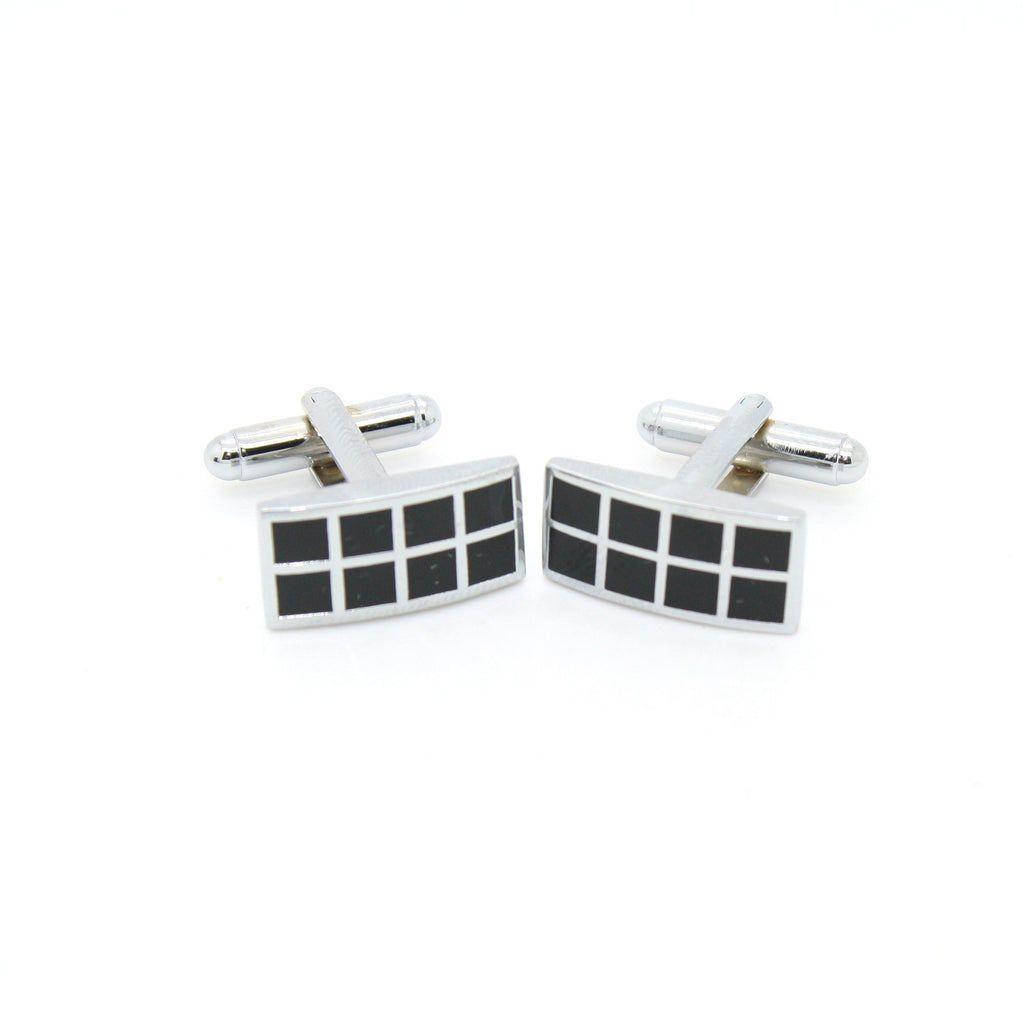 Silvertone Black Checker Rectangle Cuff Links With Jewelry Box - FHYINC best men
