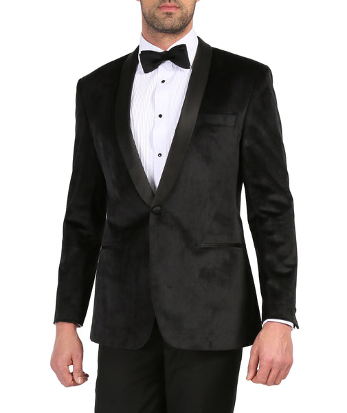 Enzo Black Slim Fit Velvet Shawl Collar Tuxedo Blazer - FHYINC best men's suits, tuxedos, formal men's wear wholesale
