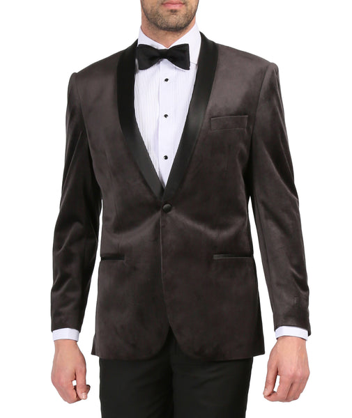 Enzo Grey Slim Fit Velvet Shawl Collar Tuxedo Blazer - FHYINC best men's suits, tuxedos, formal men's wear wholesale