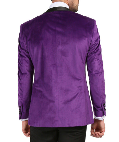 Enzo Purple Slim Fit Velvet Shawl Collar Tuxedo - FHYINC best men's suits, tuxedos, formal men's wear wholesale