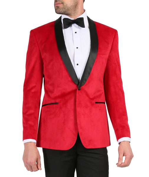 Enzo Red Slim Fit Velvet Shawl Collar Tuxedo - FHYINC best men's suits, tuxedos, formal men's wear wholesale