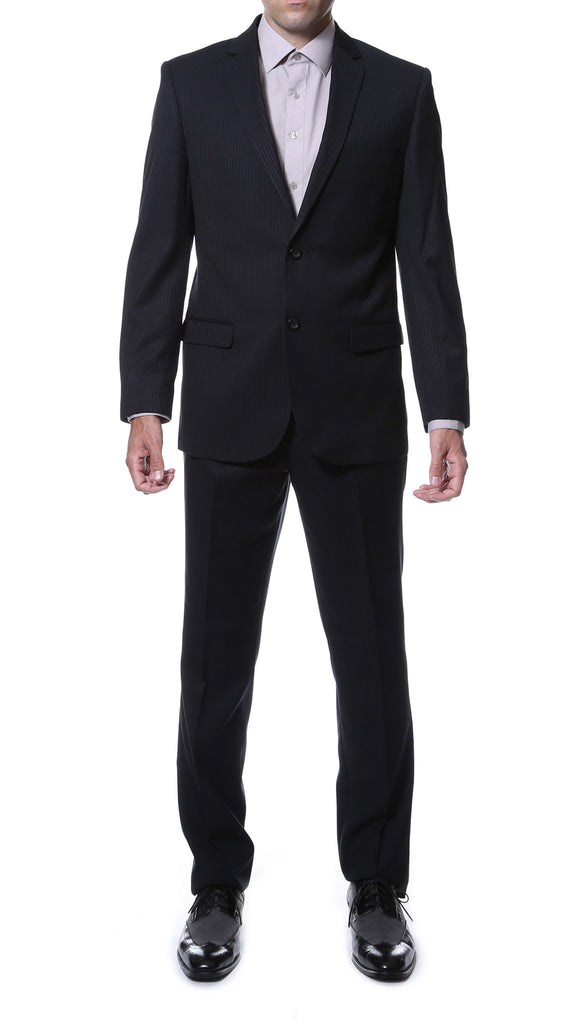 Ernesto Black Pinstripe Slim Fit 2pc Suit - FHYINC best men