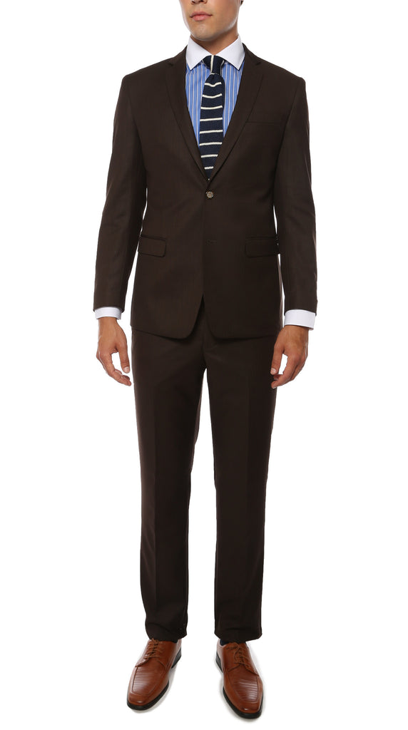 Etro Mens Brown Pinstripe Slim Fit Notch Lapel 2pc Suit - FHYINC best men