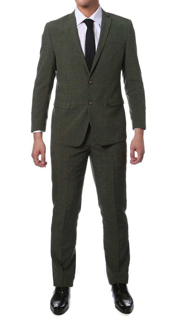 Etro Green Glen Plaid Slim Fit 2pc Suit - FHYINC best men