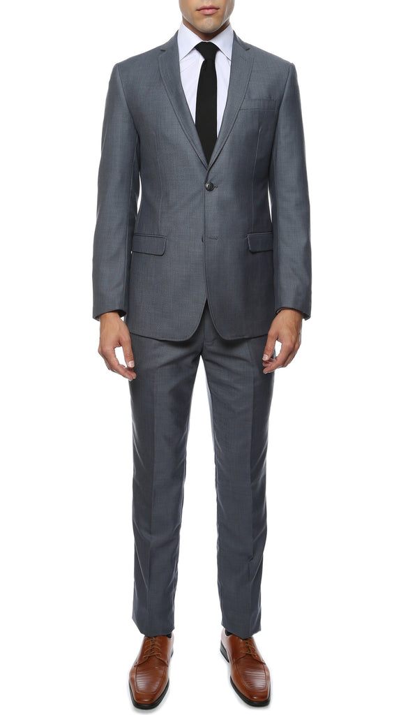 Etro Mens Grey Blue Slim Fit Notch Lapel 2pc Suit - FHYINC best men