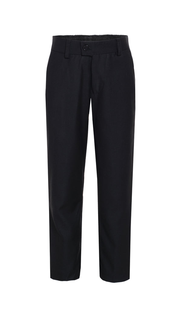 Ezra Black Regular Fit Boys Dress Pants - FHYINC best men's suits, tuxedos, formal men's wear wholesale
