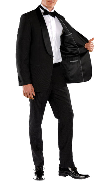 Falls Slim Fit 2pc Tuxedo - Black - FHYINC best men's suits, tuxedos, formal men's wear wholesale