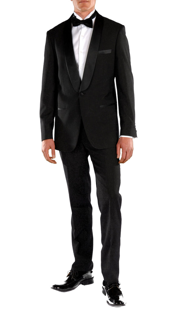 Falls Slim Fit 2pc Tuxedo - Black - FHYINC best men