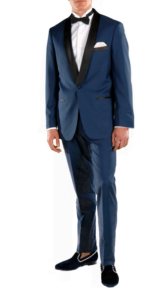 Falls Slim Fit 2pc Tuxedo - Indigo Blue - FHYINC best men