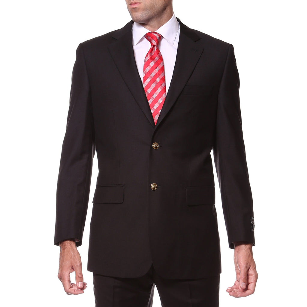 Black Regular Fit Mens Gold Button Blazer - FHYINC best men