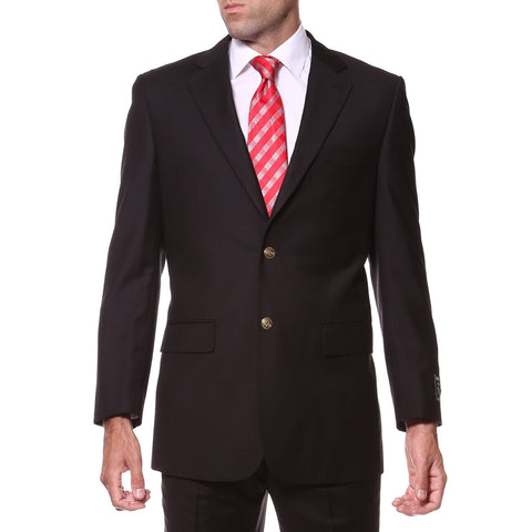 Black Regular Fit Mens Gold Button Blazer