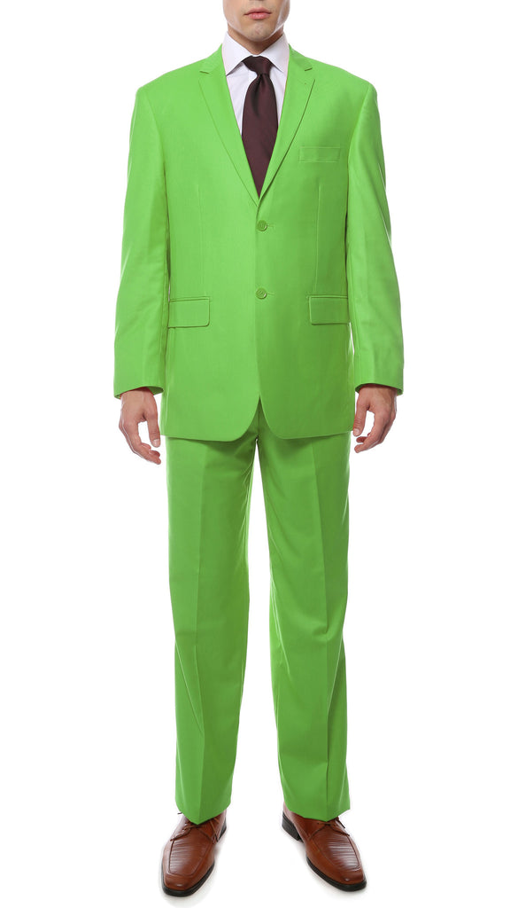 Premium FE28001 Apple Green Regular Fit Suit - FHYINC best men