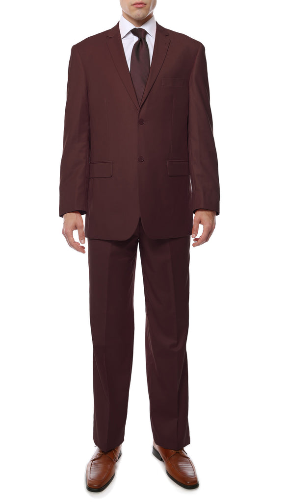 Premium FE28001 Burgundy Regular Fit Suit - FHYINC best men
