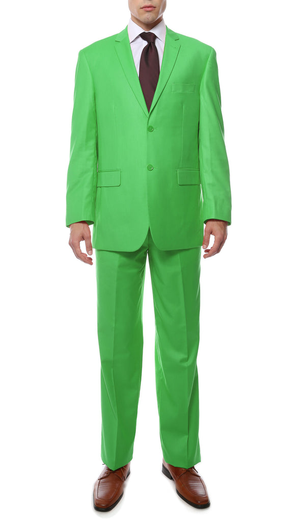 Premium FE28001 Lime Green Regular Fit Suit - FHYINC best men