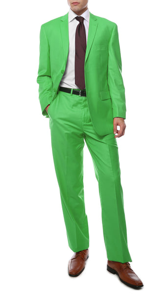 Premium FE28001 Lime Green Regular Fit Suit