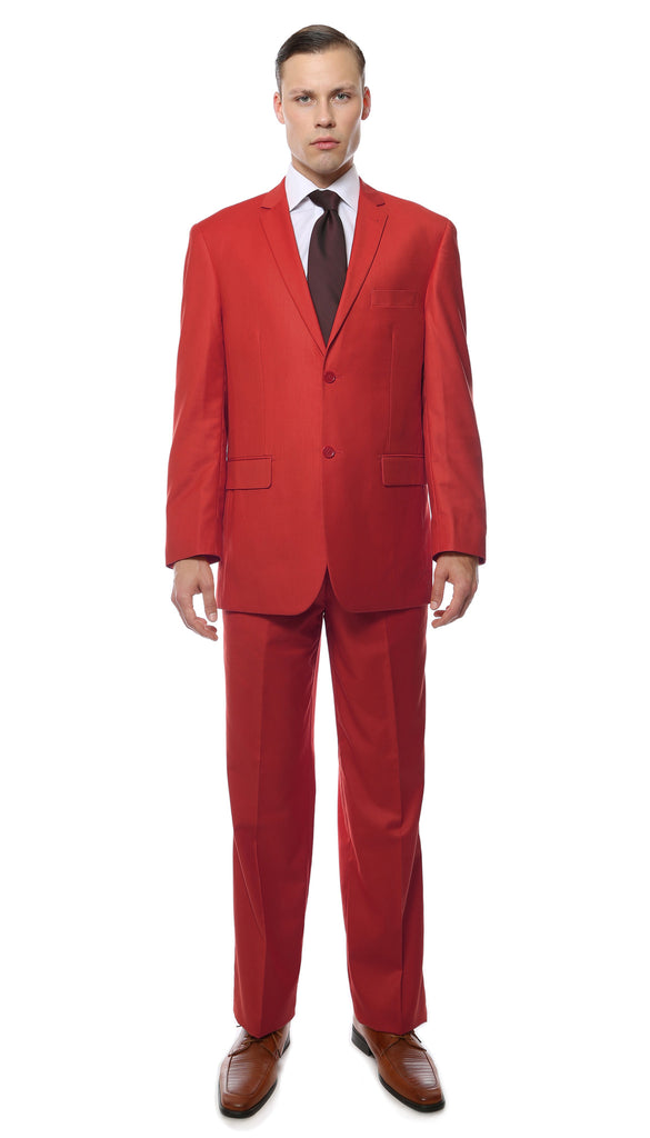 Premium FE28001 Red Regular Fit Suit - FHYINC best men