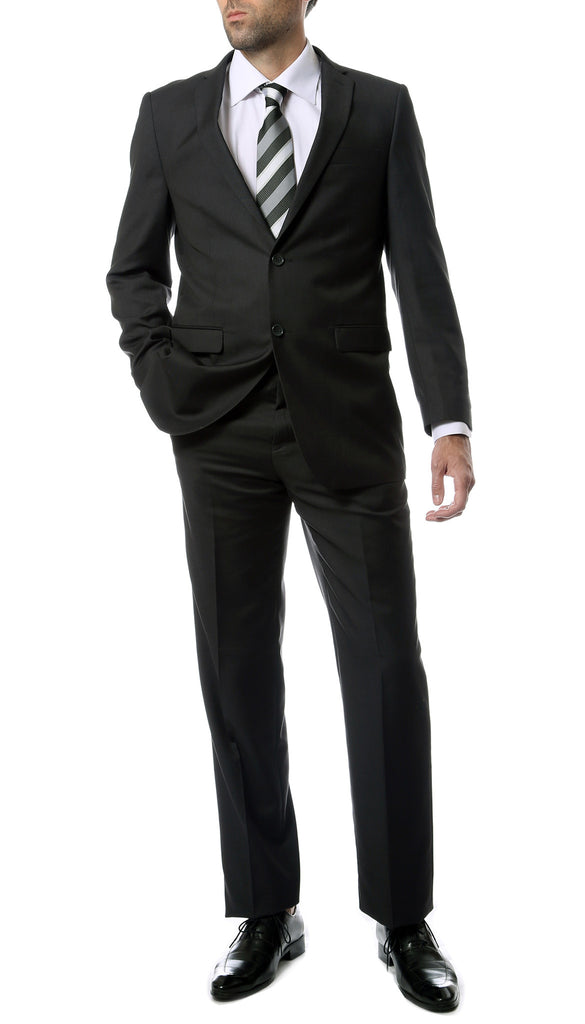 Premium Mens 2pc 2 Button Regular Fit Charcoal Suit