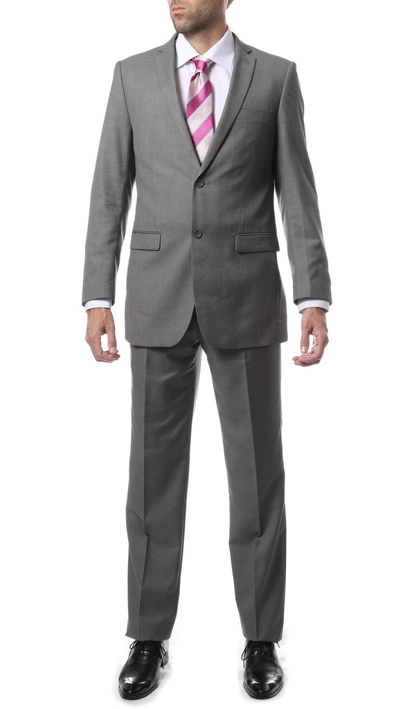 Premium Mens 2pc 2 Button Regular Fit Grey Suit