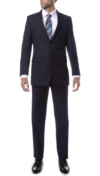 Premium Mens 2pc 2 Button Regular Fit Navy Blue Suit