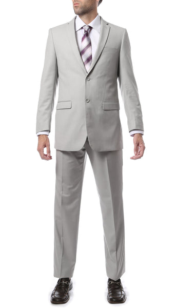 Premium Mens 2pc 2 Button Regular Fit Light Grey Suit