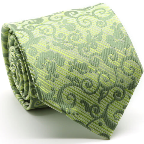 Mens Dads Classic Green Paisley Pattern Business Casual Necktie & Hanky Set FO-9