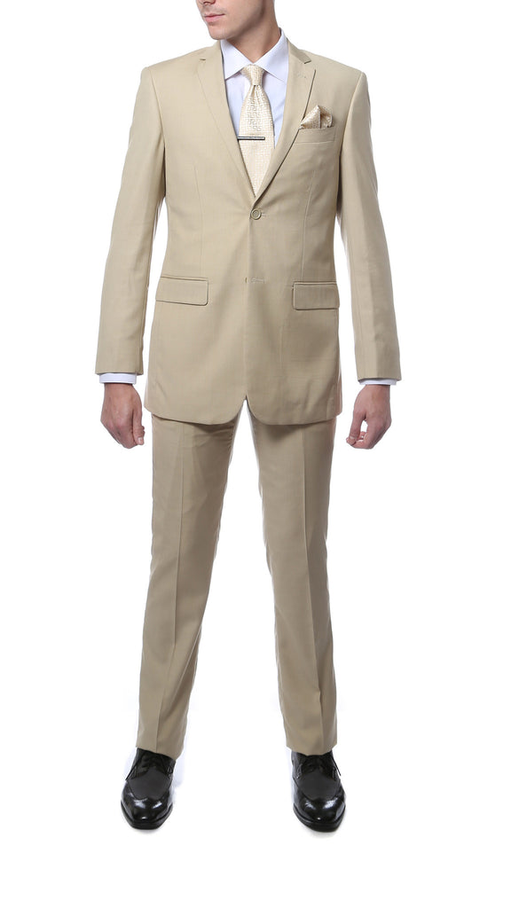 FS22 Mens Tan Regular Fit 2pc Suit - FHYINC best men
