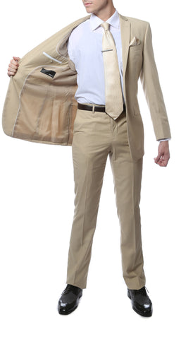 FS22 Mens Tan Regular Fit 2pc Suit