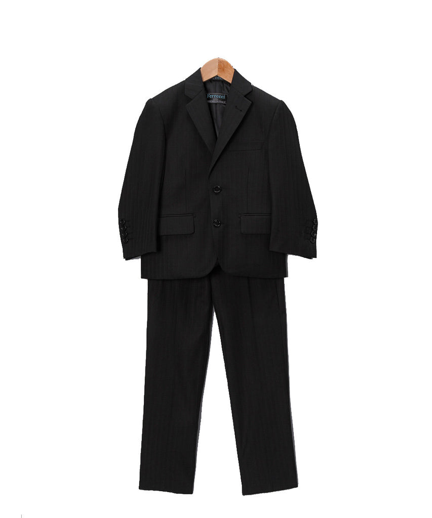 Boys Premium Black Tone on Tone Striped 2pc Suit - FHYINC best men
