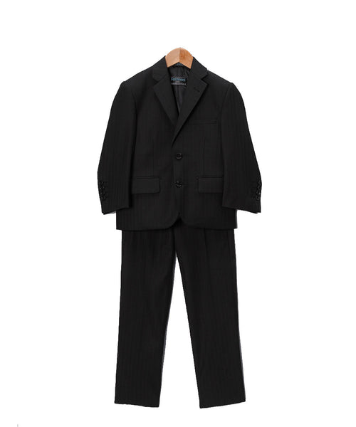 Boys Premium Black Tone on Tone Striped 2pc Suit - FHYINC best men's suits, tuxedos, formal men's wear wholesale