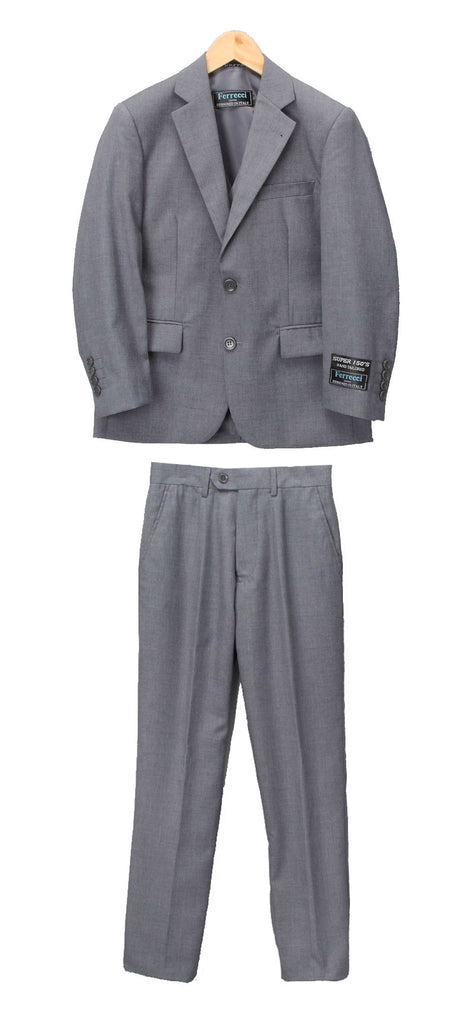Boys Premium Medium Grey 2pc Suit - FHYINC best men