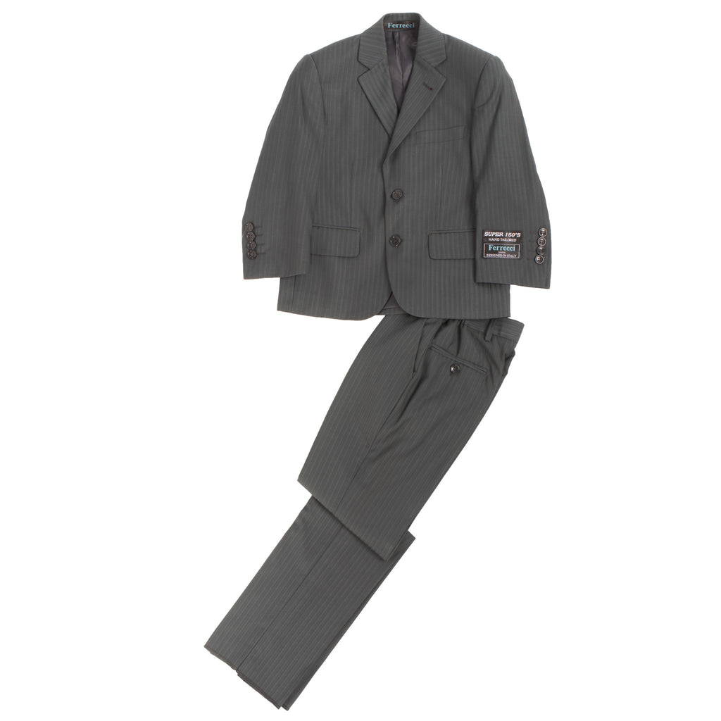 Boys Premium Grey Green Striped 2pc Suit - FHYINC best men