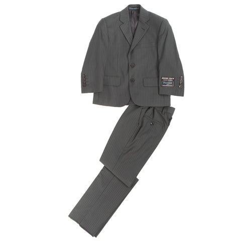 Boys Premium Grey Green Striped 2pc Suit