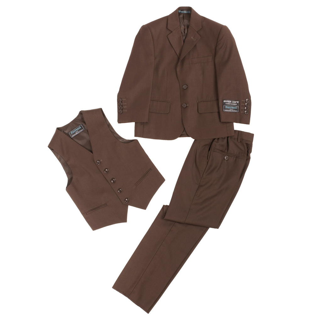 Boys Premium Chocolate Brown 3pc Vested Suit - FHYINC best men