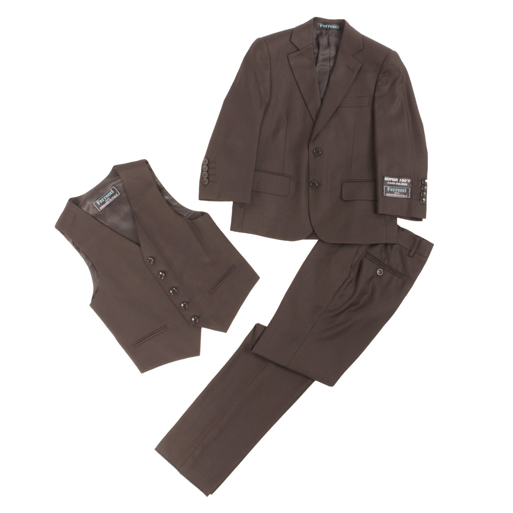 Boys Premium Coffee Brown 3pc Vested Suit - FHYINC best men