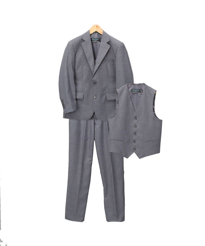Boys Premium Medium Grey Vested 3pc Suit - FHYINC best men