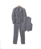 Boys Premium Medium Grey Vested 3pc Suit - FHYINC best men's suits, tuxedos, formal men's wear wholesale