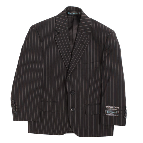 Boys Premium Black Pinstripe 3pc Vested Suit