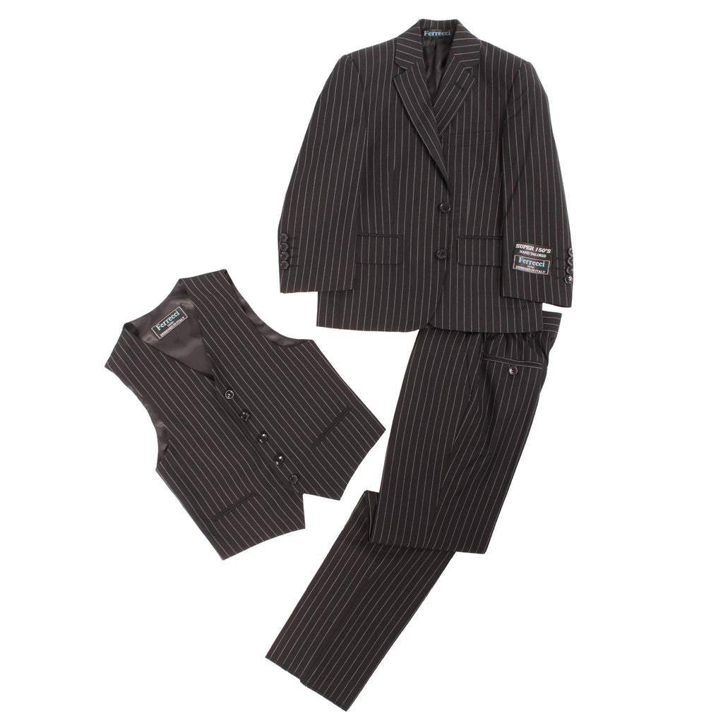 Boys Premium Black Pinstripe 3pc Vested Suit - FHYINC best men