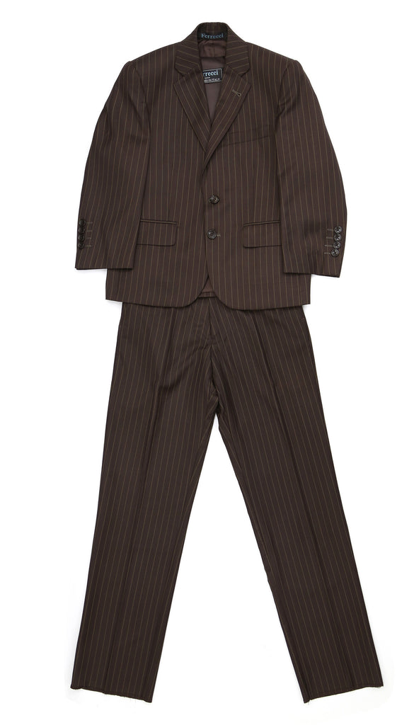 Boys Premium FSK32 Brown Pinstripe 3pc Suit - FHYINC best men