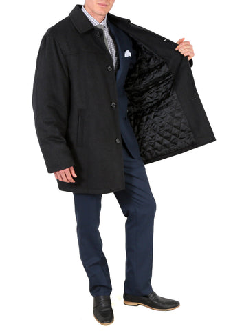 'George' Men's Wool Charcoal Top Coat