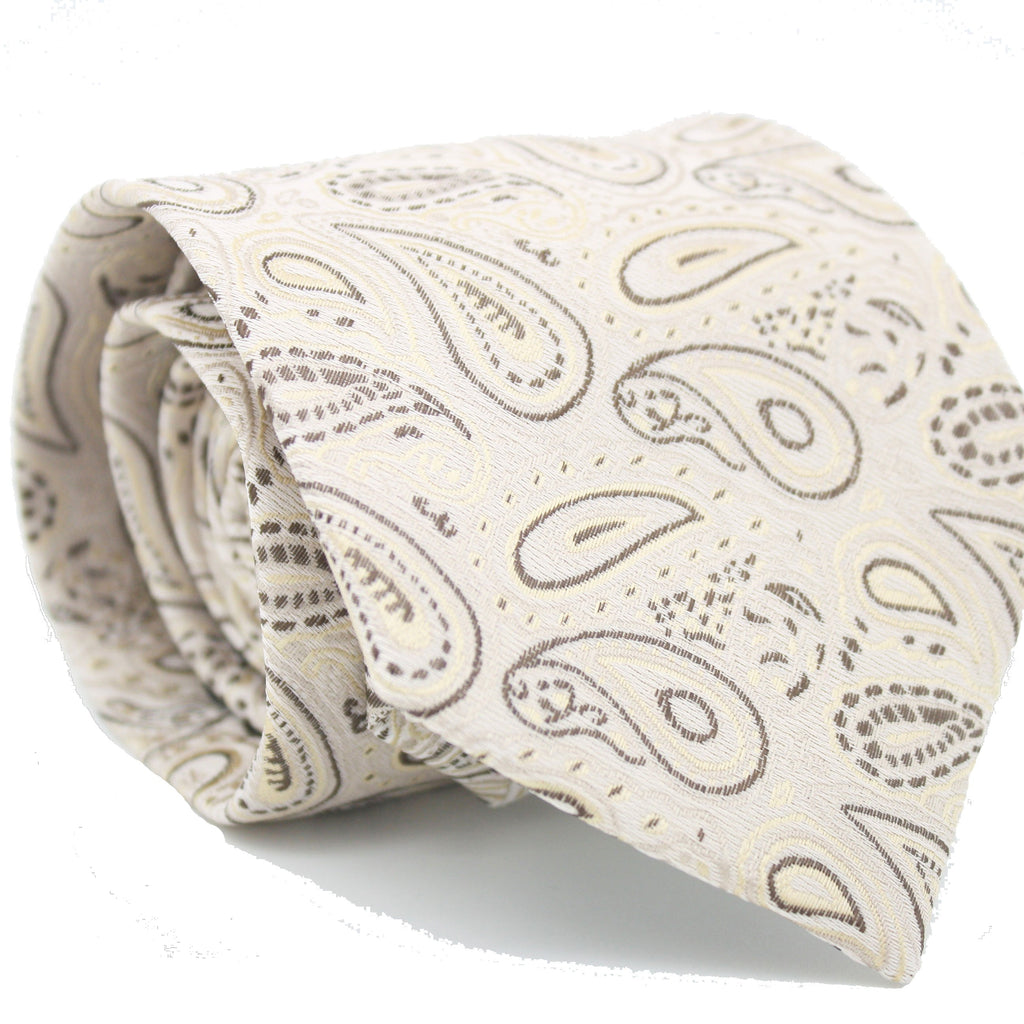 Mens Dads Classic Beige Paisley Pattern Business Casual Necktie & Hanky Set GF-4 - FHYINC best men
